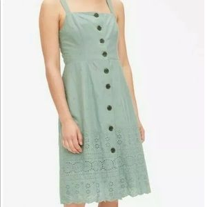 Gap Green Button Up Embroidered Apron Dress
